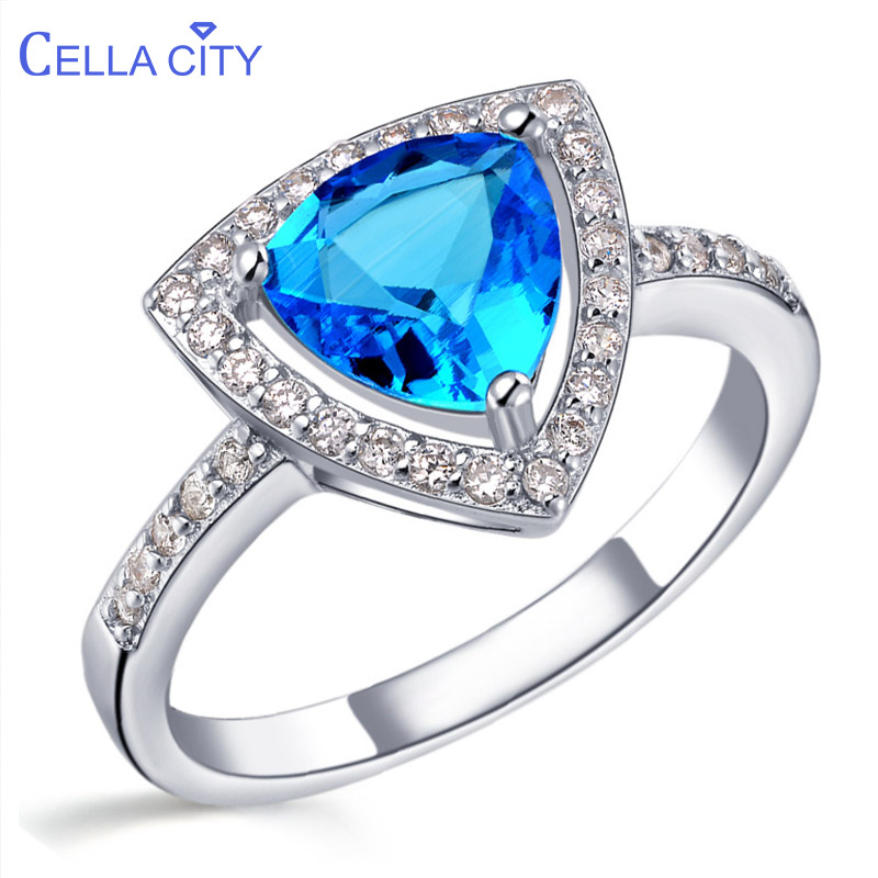 Cellacity 925 Silver Ring With Aquamarine Amethyst Ruby Gemstone Silver Women Ring 925 Jewelry Simple Classic Engagement Gifts