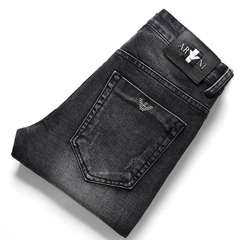 International Brand Men Boutique Jeans Men's Elasticity Slim Fit Straight-Leg Trousers Men's Europe And America Fashion Paragrap