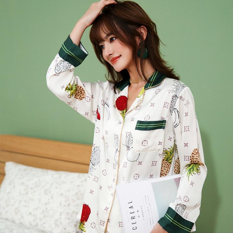 2021 primavera conjunto de pijamas femininos estilo luxo sleepwear moda impressão cetim seda como nightie casa roupas de dormir conjunto