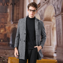 UCAK Brand Coat Men 2020 New Arrival Wool Casual Long Solid Turn-down Collar Abrigo Hombre Casaco Masculino Warm Men Coat U8038