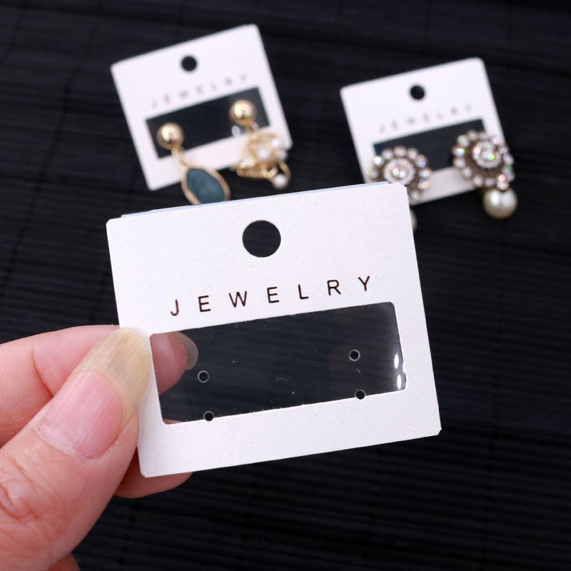 New Fashion 100pcs/lot Earrings Display Packaging Card Tags Hanging Jewelry Card White PVC+Paper Ear Studs Earring Cards