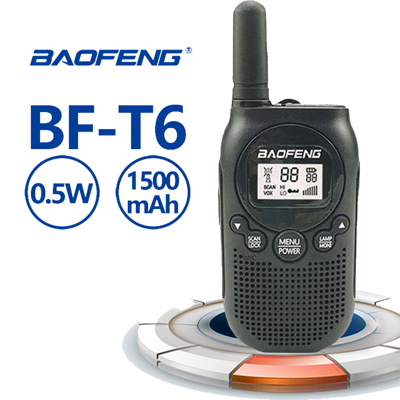 2020 New Baofeng BF-T6 Mini Walkie Talkie Toy Gift Kids Toy 0.5w FRS PMR UHF 1500 MAh Power Ham Radio Amador T6 HF Transceiver