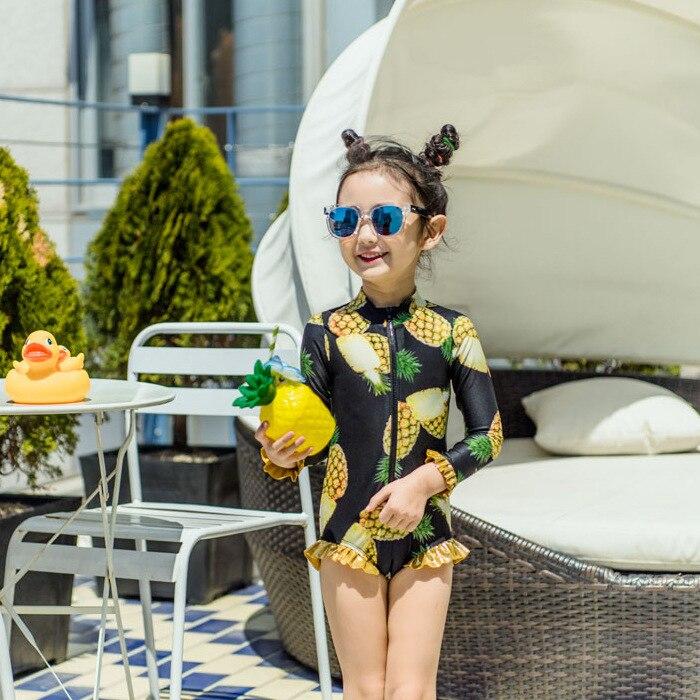 Rhine Korean New Style Children Siamese Swimsuit Korean-style Children Large Pineapple Flounced GIRL'S Swimsuit