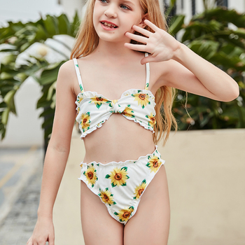For 5~10 Years Old Girls Bathing Suit Two Piece Swimsuit Children Floral Biquini Vintage New Arrival Printing Swimwear 2020 baohulu flower pattern girls swimsuit two piece long sleeve swimsuit for kids children s swimwear teens bathing suits 3 12 years