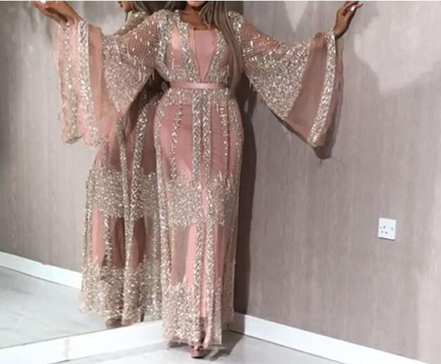 2 Pieces Sets Spring 2020 New Sequins Dress Women Sexy Lace Long Sleeve Evening Party Dresses Elegant Maxi Sexy Dress Robe Longu