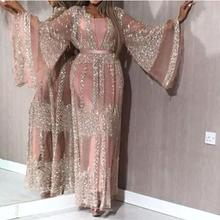 2 pieces Sets Spring 2020 New Sequins Dress Women Sexy Lace Long Sleeve Evening