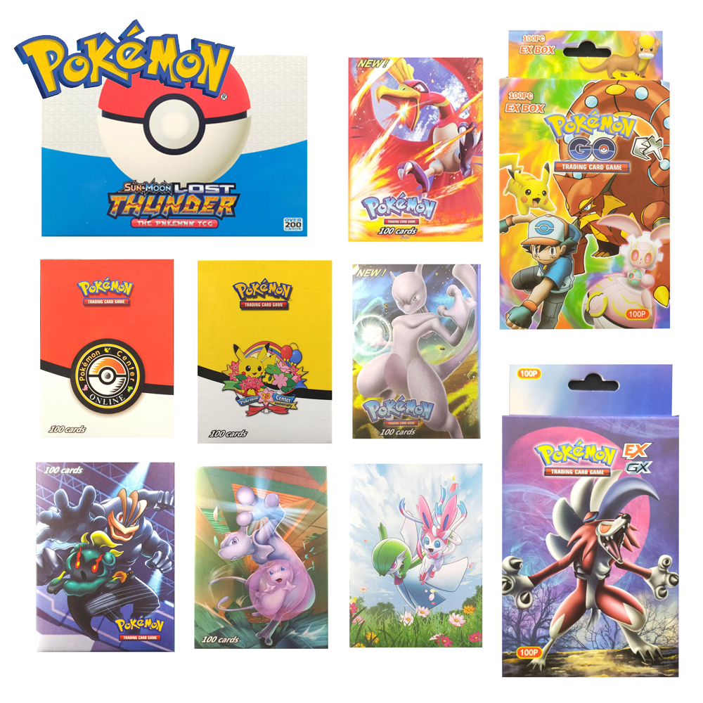 100PCS Takara Tomy PTCG Pokemon GO Cards GX EX MEGA Trainer 3D Flash Card SWORD&SHIELD SUN&MOON Collectible Gift Children Toy