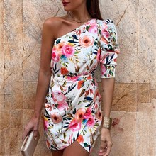 One Shoulder Floral Print Bodycon Dress Women Split Sexy Vingtage Summer Irregular Mini Party