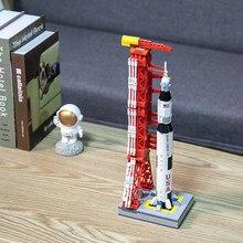 Neue Apollo Saturn V Weltraum Modell Träger Rakete Spielzeug Mit Einführung Turm Bausteine Für Kinder Erwachsene Spielzeug Geschenk