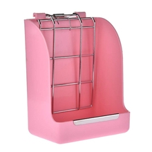 Spring Straw Frame Rabbit Grass Feeder Grass Basket Small Pet Guinea Pig Totoro Cage Accessories Fixed Food Container Bowl Pink