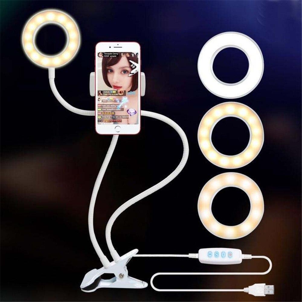 Selfie Ring Light with Flexible Mobile Phone Holder Lazy Bracket Desk Lamp LED Light for Selfie Live Stream Office Kitchen