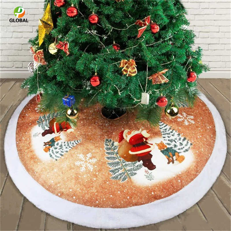 D&P 1Pcs 98CM Christmas Tree Skirts Fur Carpet Merry Christmas Decoration for Home Natal Natal Tree Skirts New Year Decoration
