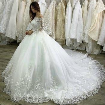 Princess Wedding Dresses 2020 Lace Applique Bridal Gowns Custom Made Ball Gown Long Sleeve Off The Shoulder vestido de novia lace applique lantern sleeve cold shoulder top