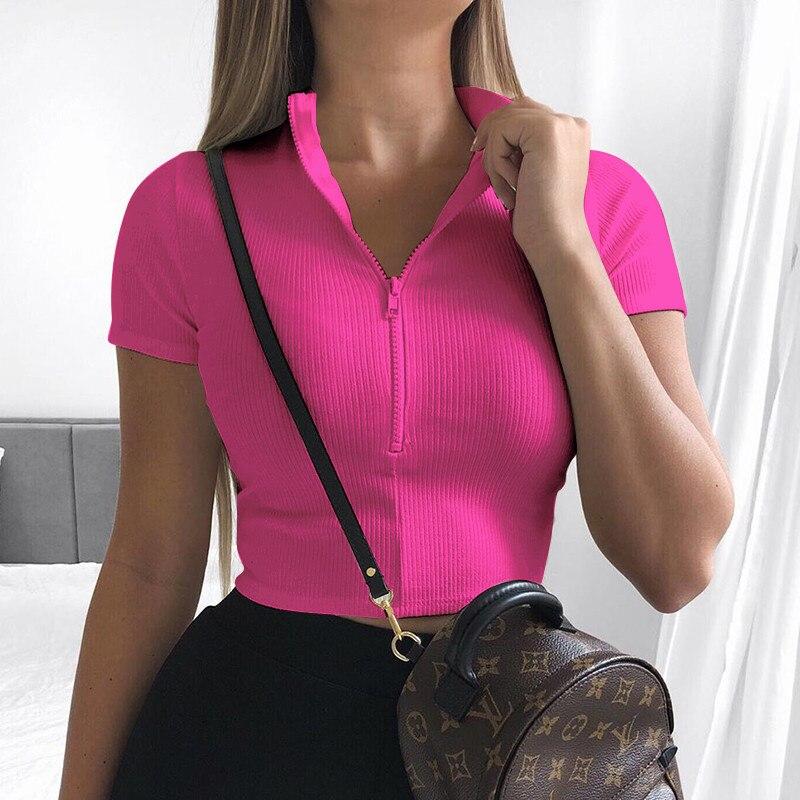Meihuida 2020 New Fashion Slim Fit Zipper Stretch Knitted Sweaters Women Female Bustier Corset High Neck Skinny Croped Tee