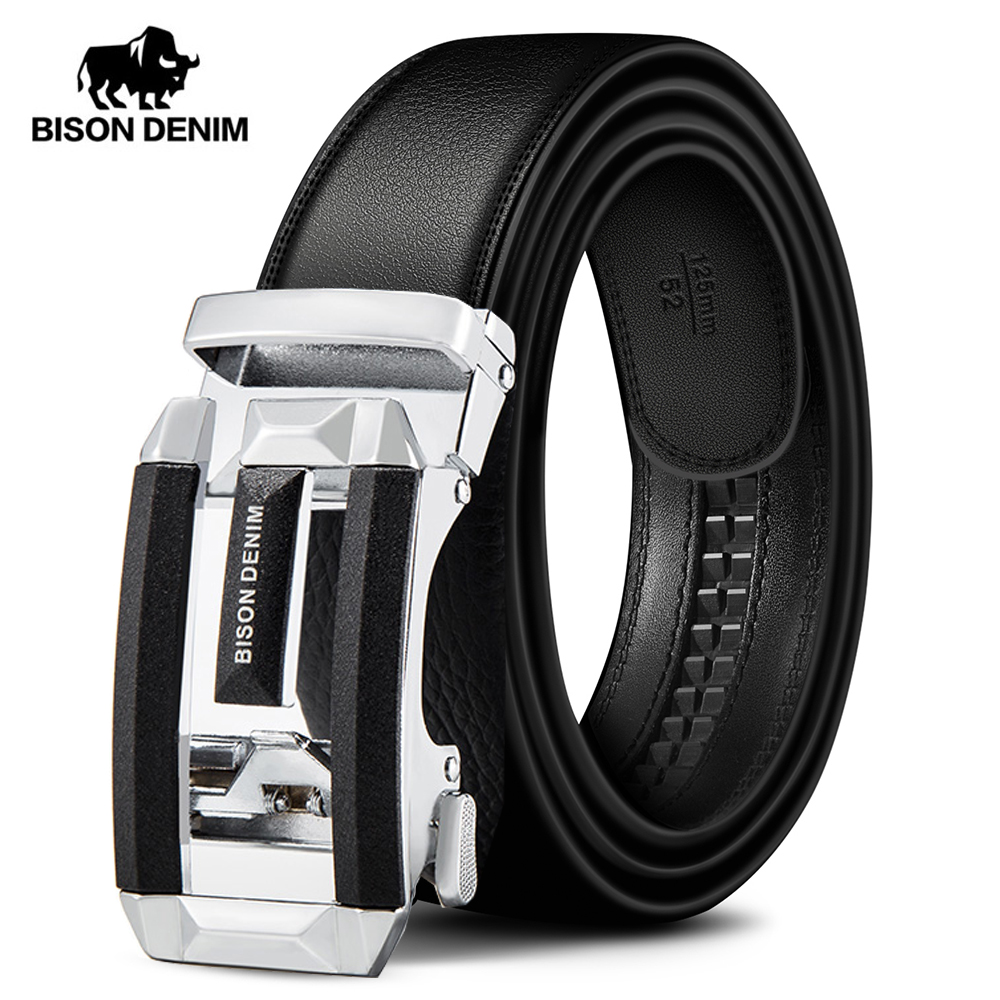 BISON DENIM Genuine Luxury Leather Men Belt Automatic Alloy Buckle Male Belt Top Quality Genuine Cowskin Leather Strap W71533