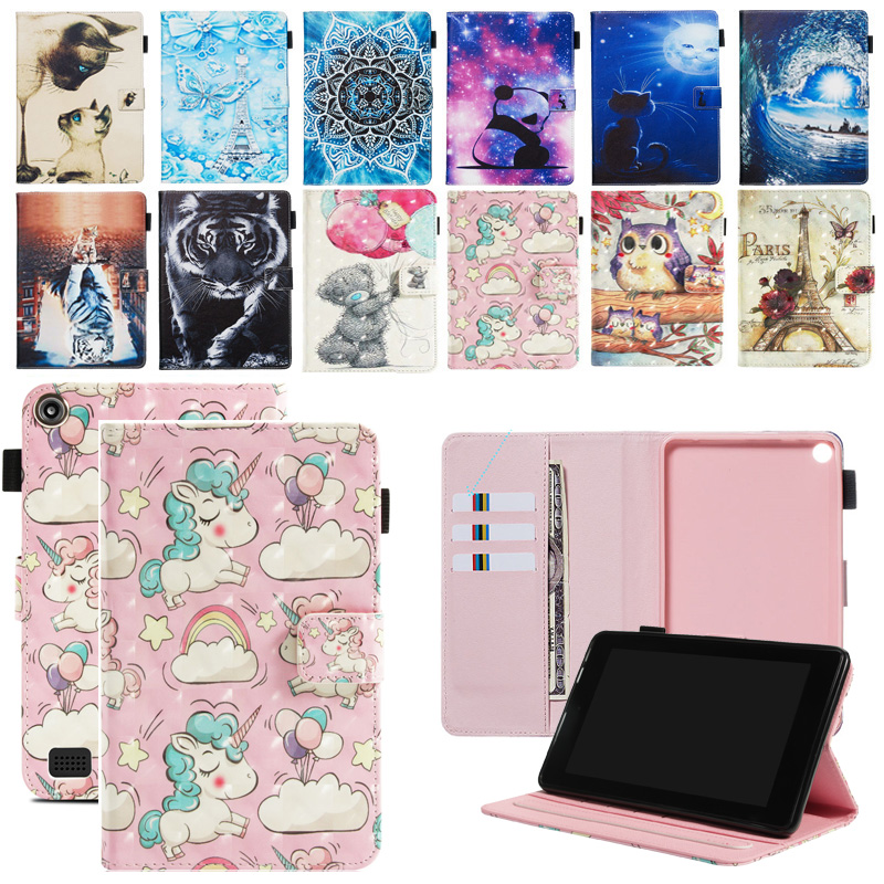 Fall Für Amazon Feuer 7 2017 2019 Abdeckung <font><b>Tablet</b></font> Mode Painted Flip Funda Shell Für Kindle Feuer HD7 2015 5th 7th Generation image