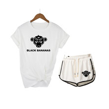 Black Bananas Summer Cotton Sets Women Casual Two Pieces Short Sleeve T Shirts and High Waist Short Pants Solid Outfits Tracksui