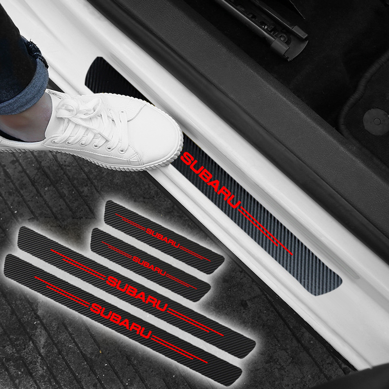4pcs Carbon Fiber Car Door Sill Scuff Protector Welcome Pedal Protector for Subaru Impreza Legacy XV Forester Outback Tribeca