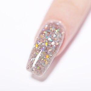 Image 5 - Nato graziosamente polvere per unghie a immersione glitterata 10ml olografografia polvere acrilica secca naturale Dip decorazioni per Nail Art per disegni di unghie