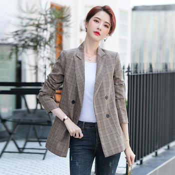 Ladies Jacket Yarn dye Plaid FW20 Fashion Style Blazer Double brestere Mid Length Brown Grey Checked Outerwear