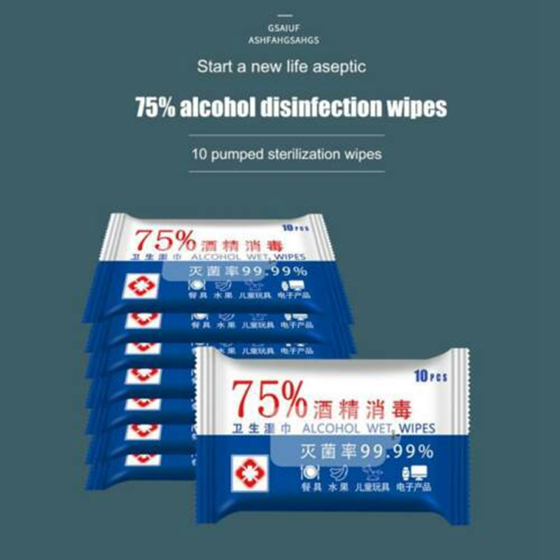 6 PCS 10 Sheets/Pack 75% Alcohol Wet Wipes Antiseptic Cleaning Disinfecting Wet Wipes
