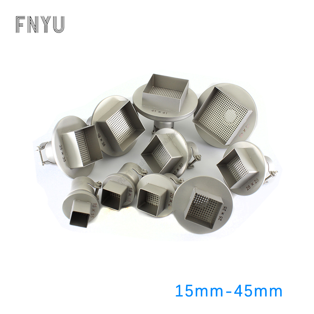 Hot Air Gun Square Nozzles 15-45mm BGA Soldering Station Rework Stations Universal BGA Titanium AlloyNozzle Welding Accessories