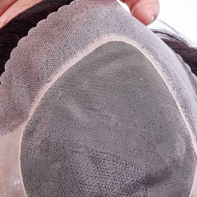 Ali FumiQueen Mono de encaje con los sistemas de reemplazo del pelo del tupé de los hombres delgados de la PU 8x10 pulgadas pelo Remy indio tupé peluca de pelo para hombre