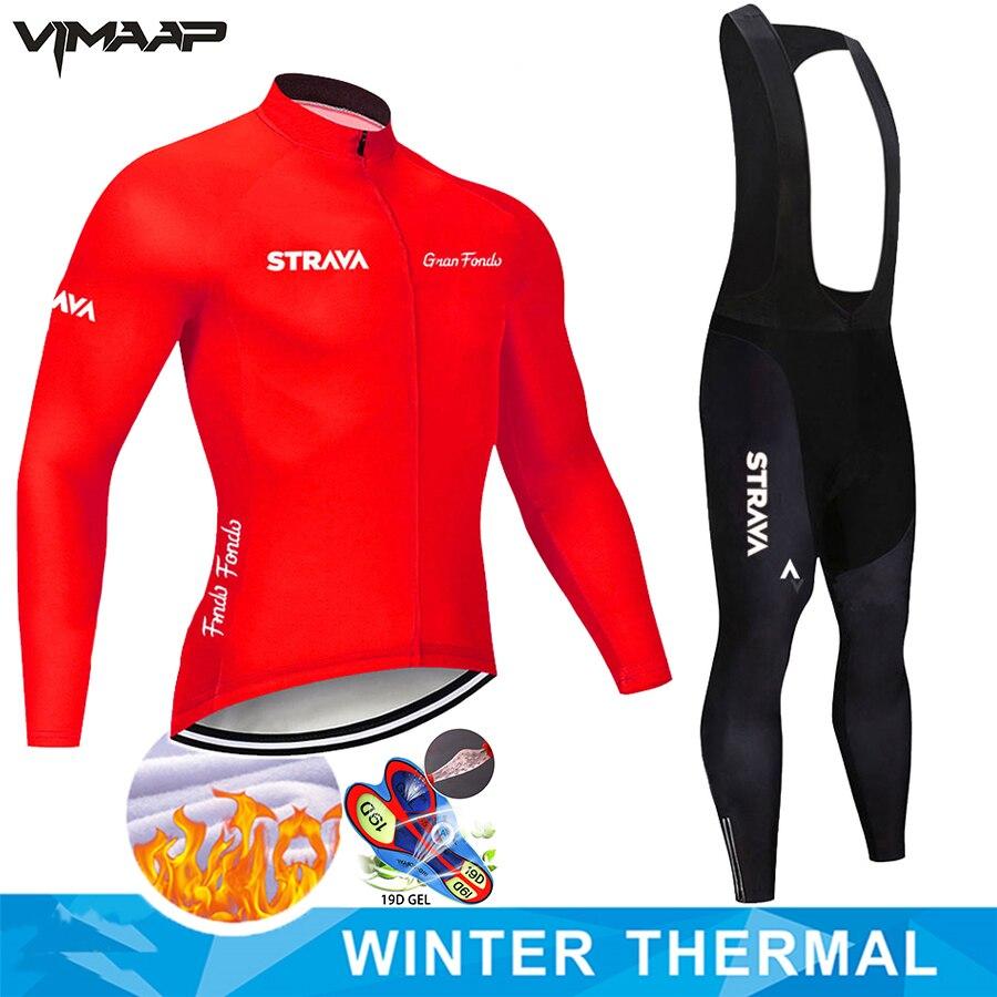Теплое зимнее теплое флисовое Джерси STRAVA 2021, Мужская Уличная одежда для езды на горном велосипеде, комплект велосипедных брюк, одежда для ез...