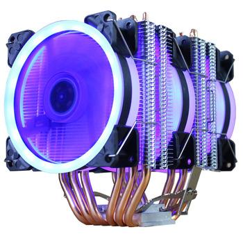 Chłodnica procesora wysokiej jakości 6 rur grzewczych podwójna wieża chłodzenia 9cm RGB wentylator wiatrak LED wsparcie 3 wentylatory 3PIN wentylator procesora dla AMD i dla Intel tanie i dobre opinie Atermiter CN (pochodzenie) AMD Intel 1 2 W Fluid Łożyska 100000 godzin 2500 RPM 4 Linie 4PIN Miedzi i aluminium 90x90x25mm
