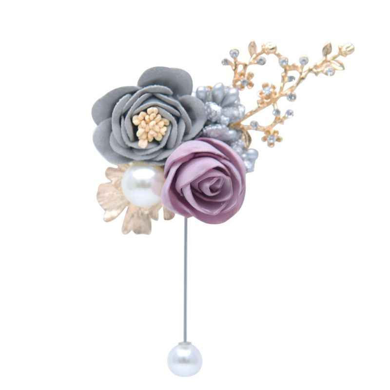 Damat gelin yaka yapay gül çiçekli broş düğün yaka çiceği broş el yapımı sahte meyveleri yapay elmas yaprakları parti elbise dekor