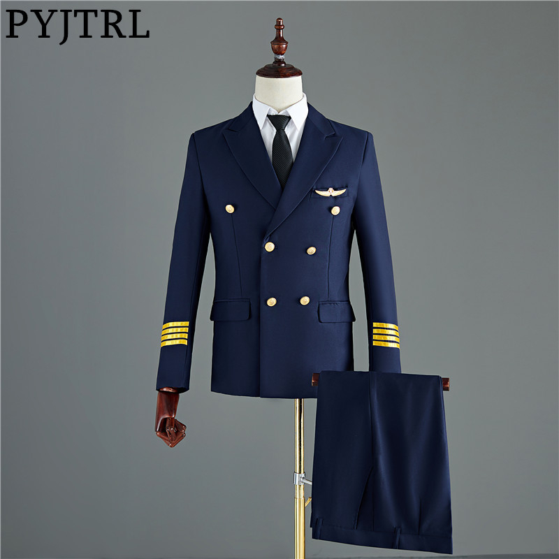 PYJTRL Pants Costume Suits Tuxedo Jacket Slim-Fit Captain Men Groom Navy-Blue Wedding