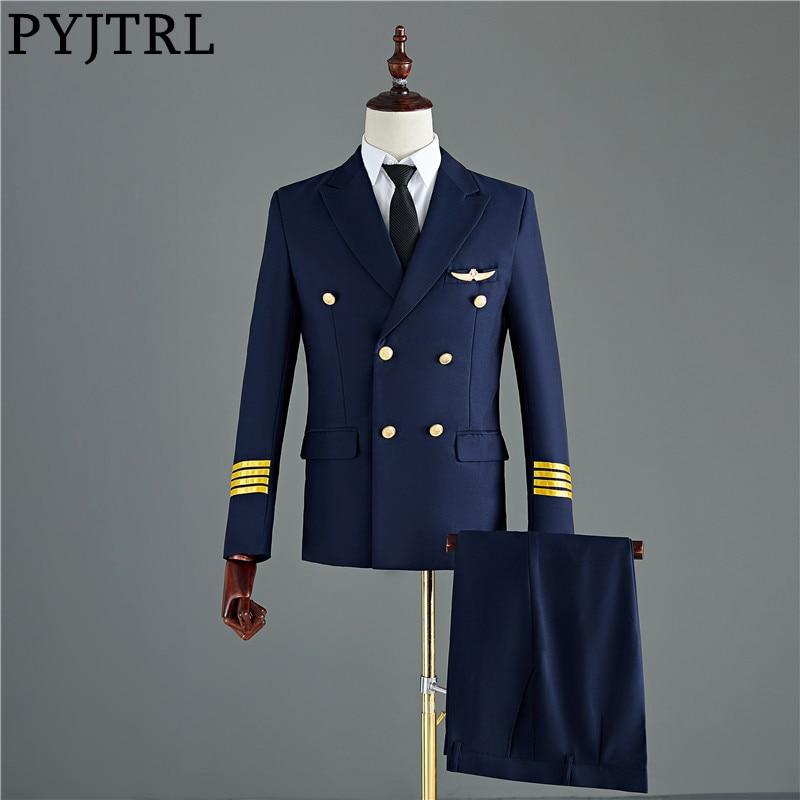 PYJTRL Pants Costume Suits Tuxedo Groom Wedding Slim-Fit Navy-Blue Black Mens Jacket