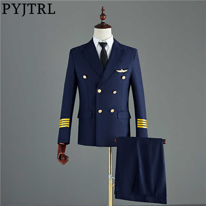 PYJTRL Navy Blue Black Mens Two-piece Captain Suits Jacket And Pants Men Groom Wedding Slim Fit Suit Party Costume Homme Tuxedo