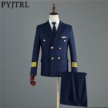 Pyjtrl 紺黒メンズツーピースキャプテンスーツジャケットとパンツ男性新郎結婚式スリムフィットパーティー衣装オムタキシード