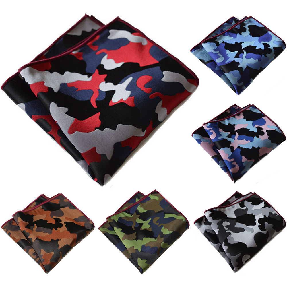 Men Classic Camouflage Handkerchief Wedding Party Pocket Square Hanky One Size BWTYX0302