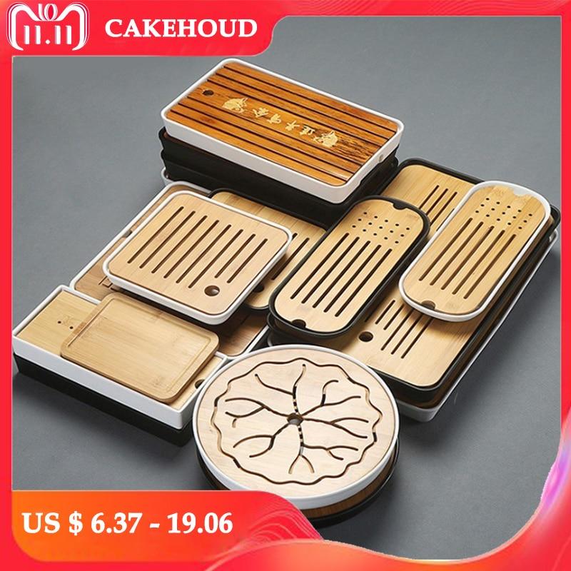 CAKEHOUD China Pu'er Tea Bamboo Tray Tea Tray Drainage Water Storage Table Kungfu Tea Ceremony Board Service Tray TeaAccessories