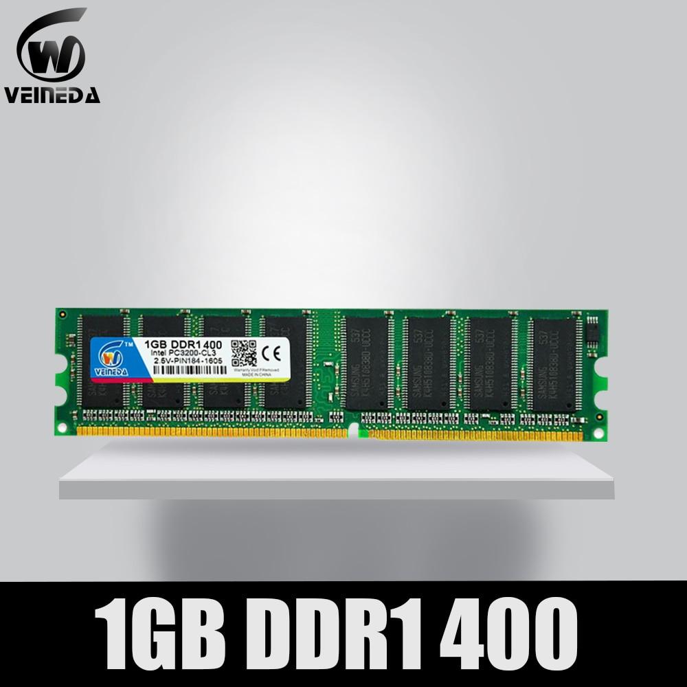 VEINEDA DDR1 2GB 2X1GB DDR 1 Gb Pc3200 Ddr400 400MHz 184Pin Desktop Ddr Memory CL3 DIMM RAM 2G