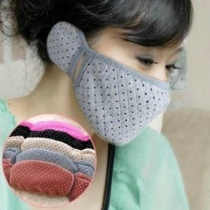 Autumn & Winter Warm South Korea Pure Cotton Lace Earcap Face Mask Men And Women Couples Dual Purpose-in-Earmuff Face Mask 37G