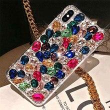 Caso de telefone bling cristal diamante strass 3d pedras coloridas capa traseira para iphone 11 12 mini pro max xr x 7 8 plus 6s plus