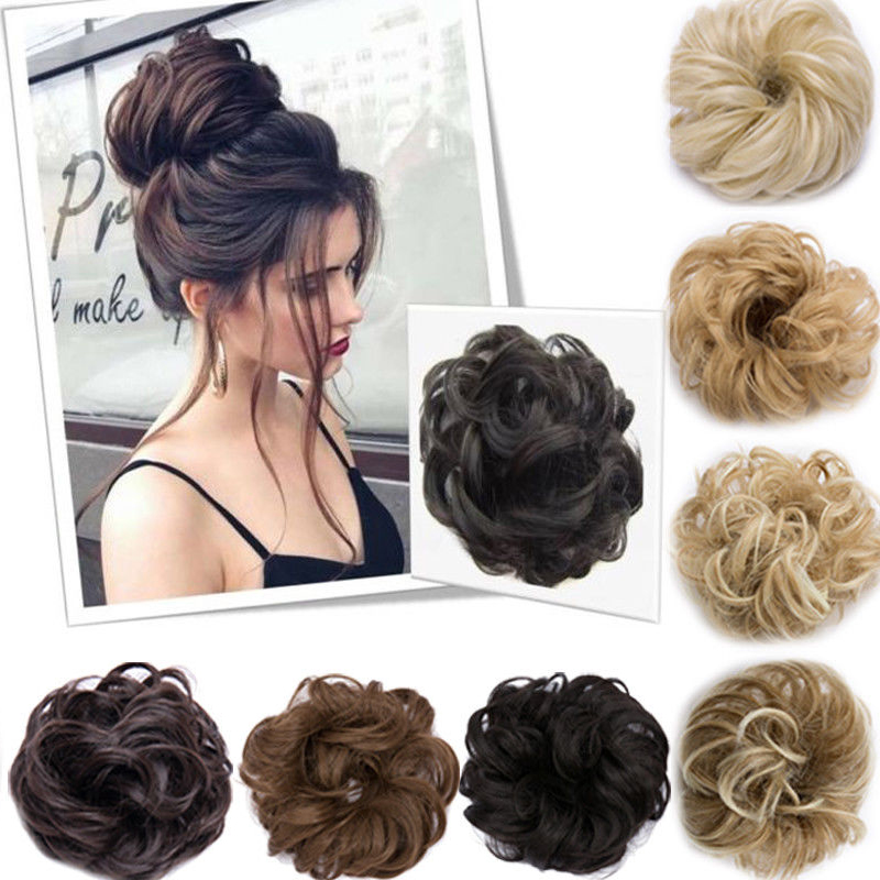 All Matching Crimp Wig Women Hair Accessories 10 Color Curly Messy Bun Hair Scrunchie Updo Cover Hair Extensions Real As Human