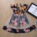 Летнее платье принцессы для малышей, детей, Цветочный жилет для маленьких девочек, цветочное Сетчатое платье с оборками, одежда для маленьк...