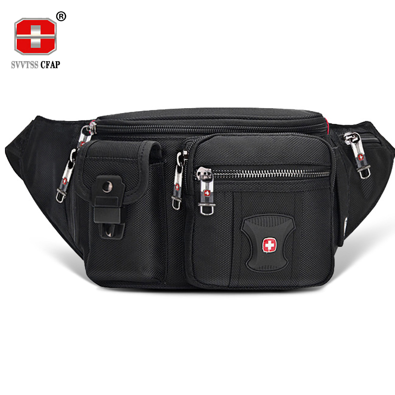 Multifunctional Unisex Waist Pack Casual Fanny Pack Men Belt Bag Phone Pouch Bags Women Black More Pockets Small Waist Bag Male