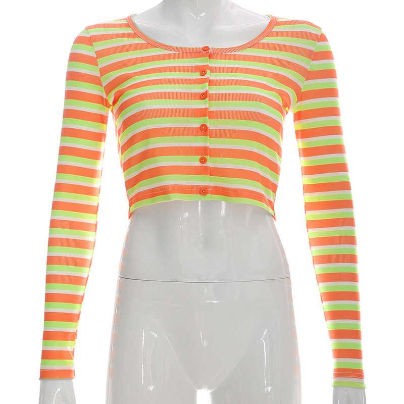 Darlingaga Harajuku, цветная полосатая Базовая футболка, женский укороченный топ, милые футболки с длинным рукавом, осенняя тонкая футболка, женская одежда