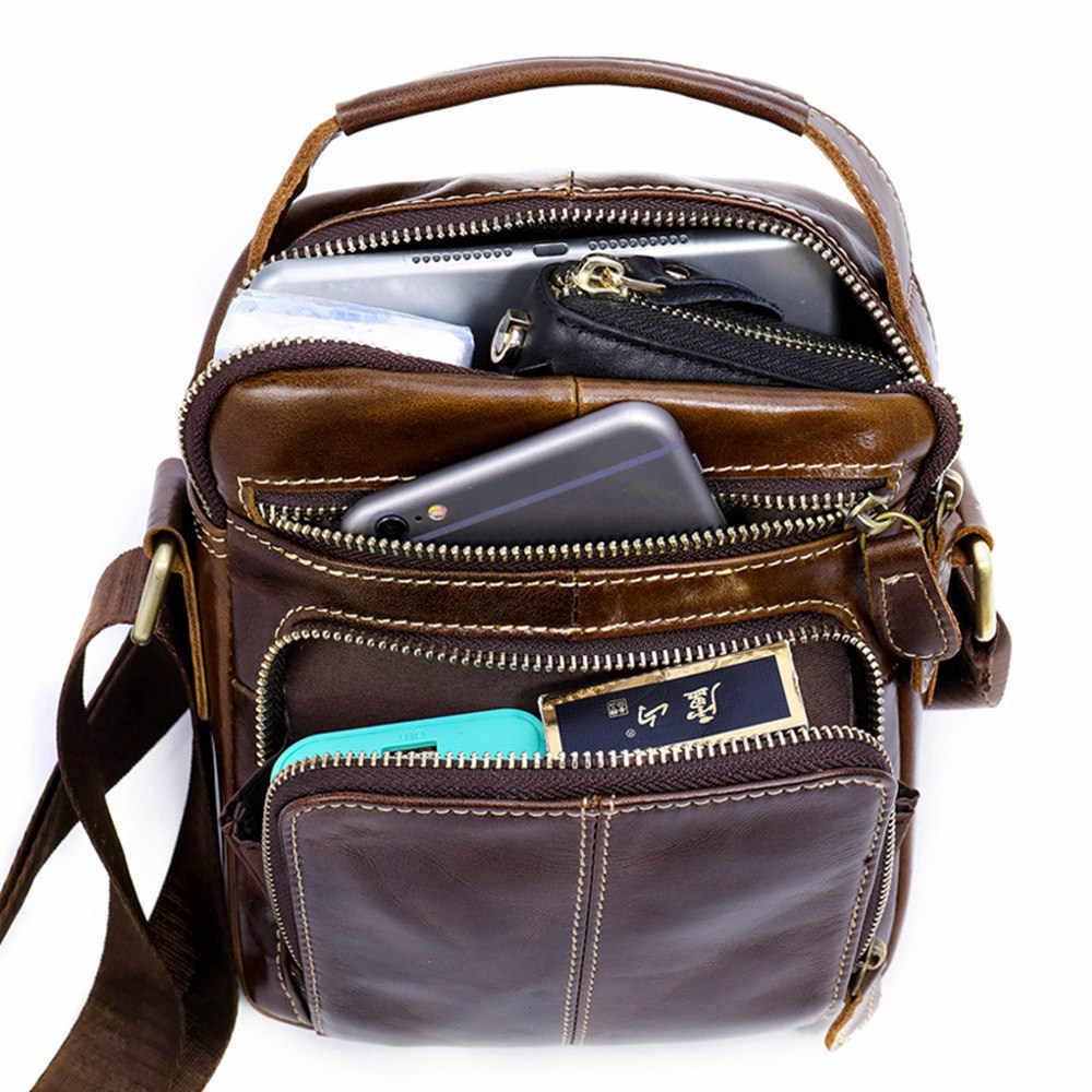 1 Buah Cizicoco 100% Kulit Asli Pria Tas Bahu Tas Selempang Tas untuk Pria iPad Flap Bahu Kecil tas Tangan