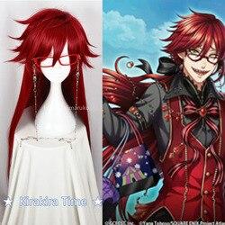 Kuroshitsuji mordomo preto grell sutcliff vermelho longo reta resistente ao calor do cabelo cosplay peruca traje + crânio corrente óculos