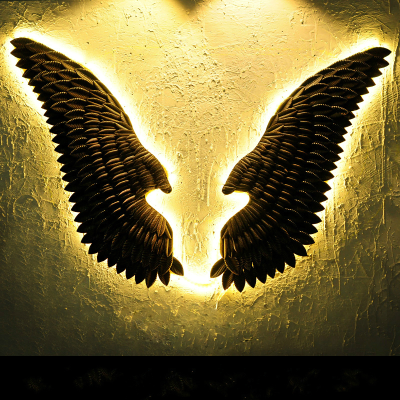 Large Metal Angel Wings with LED Lights Vintage Ancient Iron Retro Wings Wall Decoration Bar Cafe Wall Home Decor Accessories