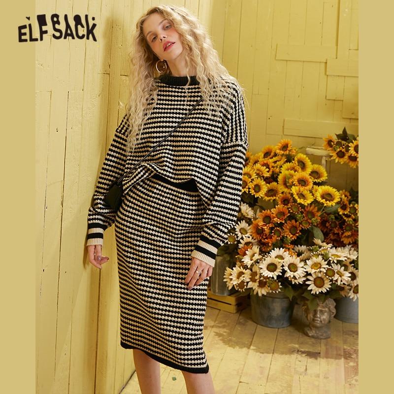 ELFSACK, Jersey informal de punto con rayas negras, conjuntos a juego para mujer, trajes elegantes de dos piezas con cintura elástica amarilla de primavera 2020 para mujer