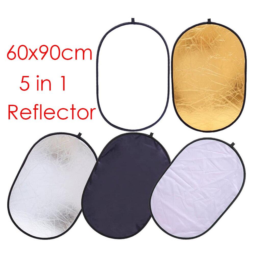 5 в 1, портативный складной овальный отражатель для фотостудии, 60 х90 см