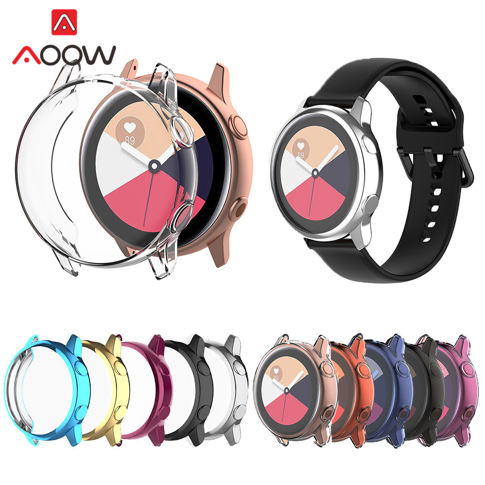 Anti-fall Soft TPU Screen Protective Case For Samsung Galaxy Watch Active SM-R500 Ultra-thin All-Around Protector Cover Shell
