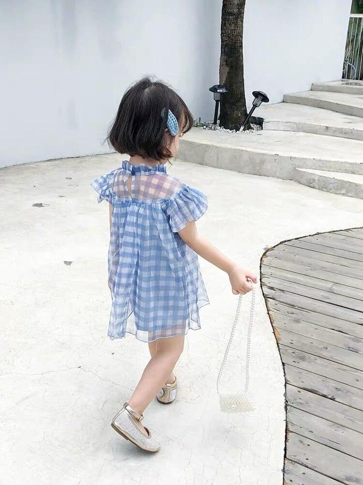 Image 2 - Платье для маленьких девочек летнее милое платье в клетку для дня рождения кружевное платье феи в стиле пэчворк милое платье для маленьких девочекСочетающаяся одежда для семьи   -